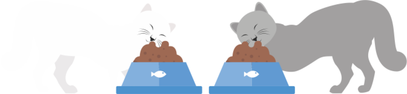 Two cats eating illustration.