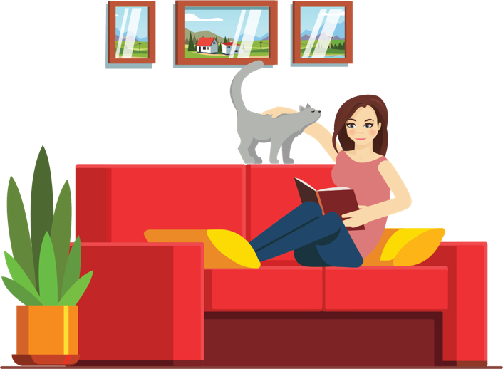 Girl and her cat on a couch illustration.